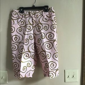 Pants - Pink and green swirly capris